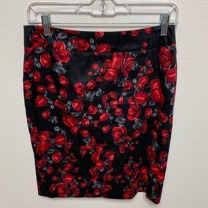 White House Black Market Rose Print Pencil Skirt 2